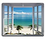 island mouse pad - Mouse Pad Palm Trees Tropical Island Beach Nature Paradise Panoramic Picture Through Wooden Windows Scene Custom Design Non-Slip Rubber Gaming Mouse Pad