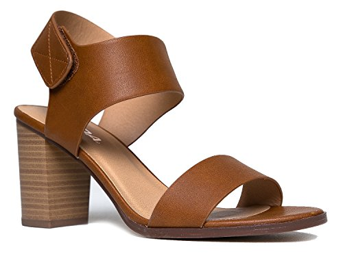 Brown Cut Out (Peep Toe Sandal - Low Stacked Heel - Open Toe Ankle Heel Cutout Velcro Enclosure,Cognac PU,8.5 B(M))