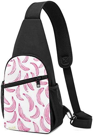 ボディ肩掛け 斜め掛け ピンクのバナナ ショルダーバッグ ワンショルダーバッグ メンズ 軽量 大容量 多機能レジャーバックパック