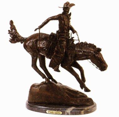 - ARIZONA COWBOY BRONZE STATUE HANDMADE SCULPTURE BY FREDERIC REMINGTON MEDIUM SIZE 12 INCH HIGH