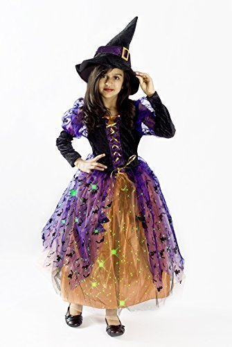 Witch Halloween Costume Girls M (Halloween Costumes For Kids Witch)