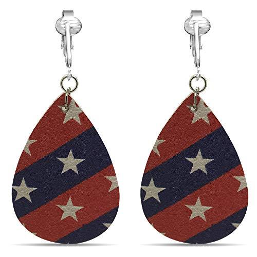 (Aloha Earrings American Flag Clip Earrings-USA Flag Clip Earrings-Star Clip Earrings-Fourth 4th of July Clip Earrings (Teardrop Stars & Stripes))