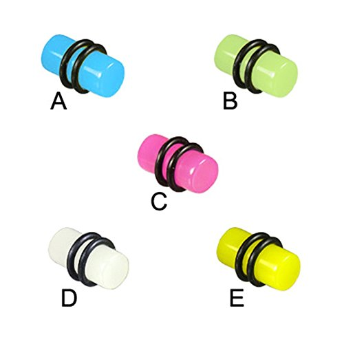 MsPiercing Glow-In-The-Dark Plug, 2 Ga, Yellow - E