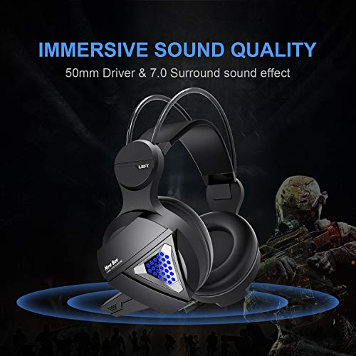 Gaming Headset New bee Stereo Over Ear Gaming Headphone for PS4, PC, Xbox One with Mic, LED Light 3.5mm Wired Volume Control Soft Memory Earmuffs for Laptop, Mac, iPad, Nintendo Switch by New bee (Image #1)