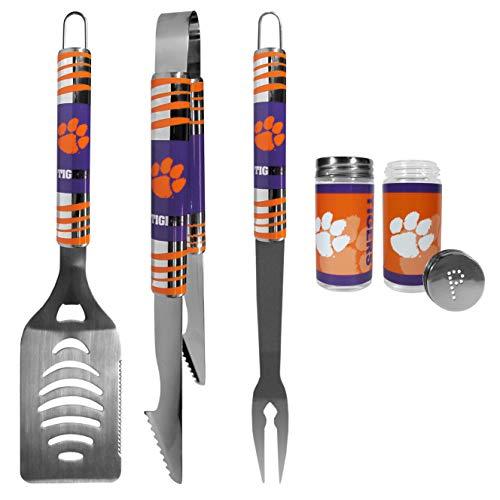 NCAA Clemson Tigers 3 pc Tailgater BBQ Set & Salt & Pepper Shaker Set