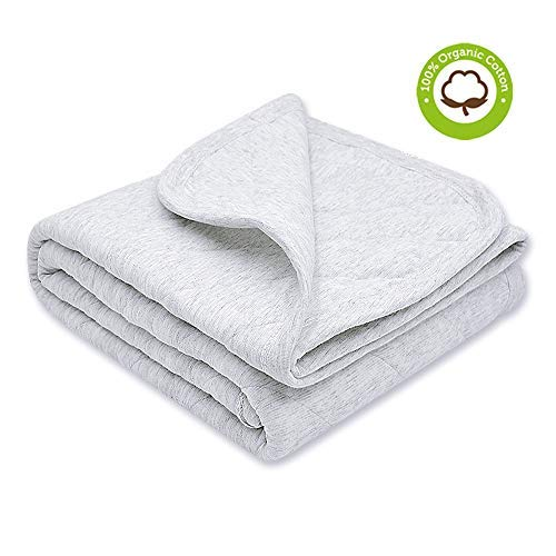Organic Cotton Baby Blanket Warm, Breathable and Super Soft Quilted Toddler Blanket for Boys and Girls - Hypoallergenic Thermal Crib Blanket Thick and Light Weight 39''x39'' Large - Gray