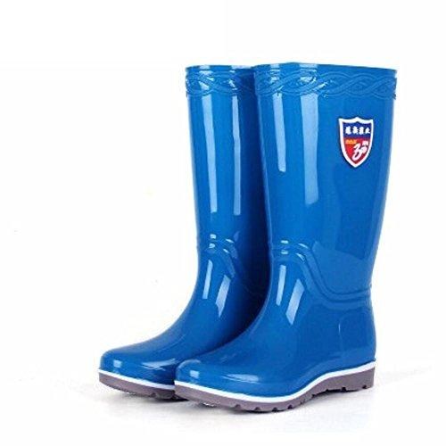 SISHUINIANHUA Lluvia Alto de chanclos Zapatos Barril blue de Zapatos Lluvia de de Sra Botas Botas rqw0rt