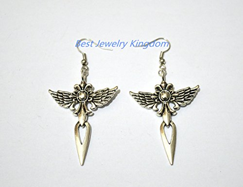 Larp Costume Making (Winged Cross Earrings - Antiqued silver - Angel Dangle Earrings - Antique - Fantasy Earrings - Wings Feathers Dagger)