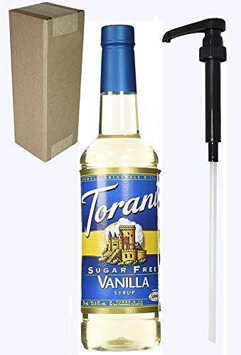 Torani Sugar Free Vanilla Flavoring Syrup, 750mL (25.4 Fl Oz) Bottle Individually Boxed, With Black -