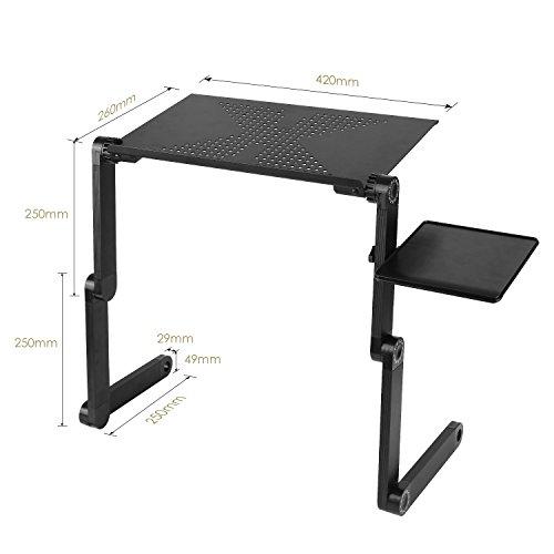 Homfa Mesa para Ordenador Plegable Portátil Mesita para cuadernos Portátil con Ventilador de Aluminio Negro 53*26*5cm: Amazon.es: Hogar