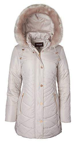 Women's Longer Length Plush Lined Puffer Coat and Detacheable Fur Trim Hood - Angora (X-Large)