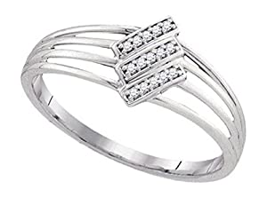 0.05 cttw 10k White Gold Pave Diamond Triple Split Shank Engagement Ring