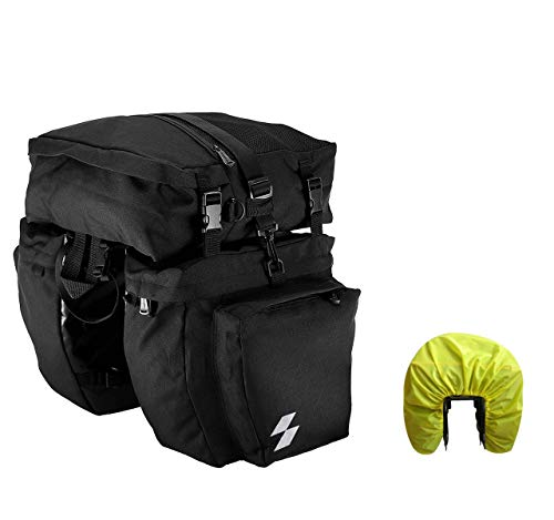 Bike Pannier Bag 3 in 1 Bicycle Rear Seat Bag Large Capacity, Water Resistant Bicycle Pannier Bag for Touring with Rain Cover