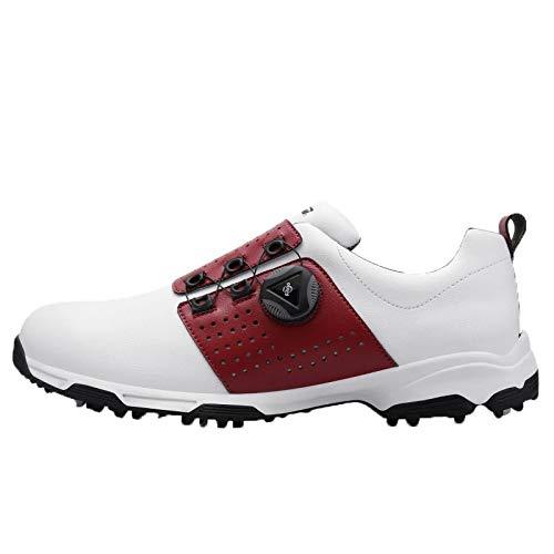 ゴルフシューズ - 古典的な穴あきレザー、ボタンダウンレース、マイクロファイバー素材、夏のカジュアルゴルフシューズ EUUK44 Red B07Q8VXYGB