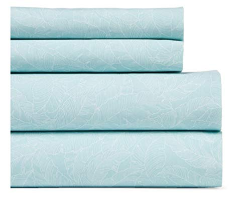 Tommy Hilfiger Queen Sheet Set Palm Leaves Aqua White 4 Pc Bedding ()