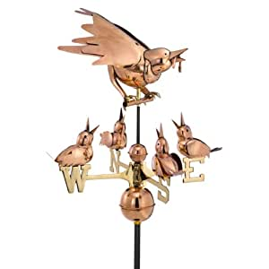 Design Toscano Mother Bird with Chicks Full-Size Copper Weathervane, Copper