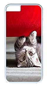 ACESR Cat Couch iPhone 6 Hard Shell Case Polycarbonate Plastics Luxury Case for Apple iPhone 6(4.7 inch) White
