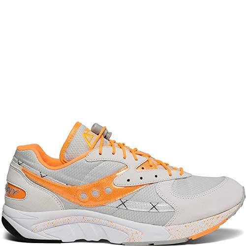 Saucony Originals Men's AYA Sneaker, White/Grey/Orange, 8.5 M US