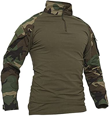 TACVASEN - Camiseta de manga larga con bolsillos para hombre, estilo militar, camuflaje, Otoño-Invierno, Camuflaje, Manga Larga, Hombre, color Camo Del Arbolado, tamaño XL: Amazon.es: Deportes y aire libre