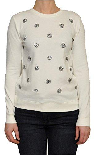 Michael Kors Jewel Embellished Cotton Blend Sweatshirt Sweater (Small, (Jewel Neck Ribbed Sweater)