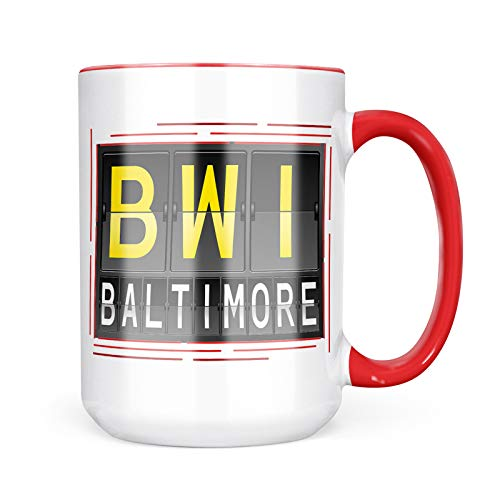 Neonblond Custom Coffee Mug BWI Airport Code for Baltimore 15oz Personalized Name ()