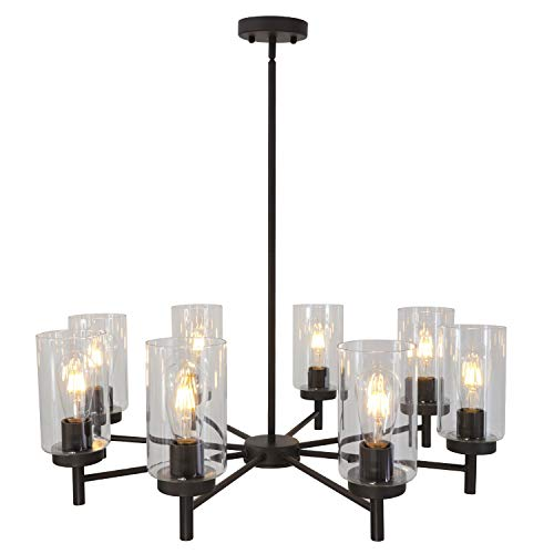 VINLUZ Contemporary Chandeliers Large 8 Lights Oil Rubbed Bronze Modern Lighting Fixtures Hanging Clear Glass Shades Pendant Light for Dining Room Living Room ()