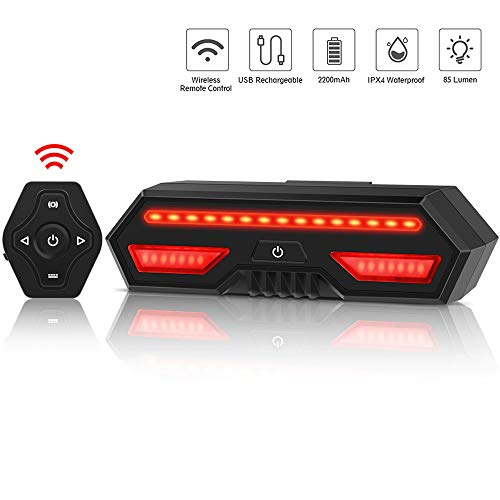 Bike Tail Light, Wireless Remote Control Bicycle Rear Light IPX4 Waterproof Bicycle Turn Signal Light USB Rechargeable Safety Bike Brake Lights for Cycling Safety Warning Light ()