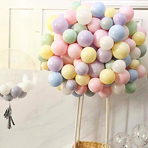 Topllon Latex Party Balloons Assorted Color 100pcs 12 Inch Rainbow Balloon Mix Macaron Colors for Birthday Party Decoration Wedding Baby Shower]()