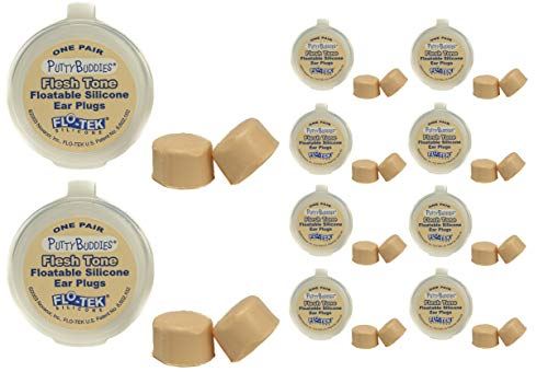 Putty Buddies Floating Earplugs 10-Pair Pack - Soft Silicone Ear Plugs for Swimming & Bathing - Invented by Physician - Keep Water Out - Premium Swimming Earplugs - Doctor Recommended (Tan)