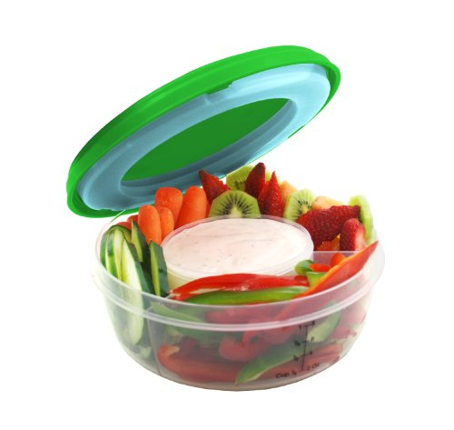 Review Fit & Fresh Fruit and Veggie Bowl with Removable Ice Pack, Reusable BPA-Free Container with 4 Food Storage Compartments, Healthy On-the-Go Snack