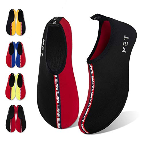 Water Shoes for Womens Mens Barefoot Quick-Dry Aqua Socks for Beach Swim Surf Yoga Exercise New Translucent Color Soles (Splice-Black/Red, 44/45)