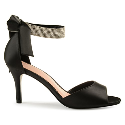 Heel Black High Pumps Satin (Brinley Co Belvie Satin Rhinestone Ankle Strap Open-Toe High Heels Black, 9 Regular US)