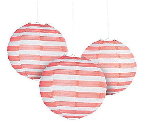 6-CORAL-STRIPED-Paper-Balloon-Lanterns-FIESTA-Cinco-De-Mayo-Luau-Decor