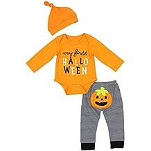 Newborn Halloween Costumes Pumpkin Pants Long Sleeve Outfits Set Baby Boys Girls Clothes My First Halloween