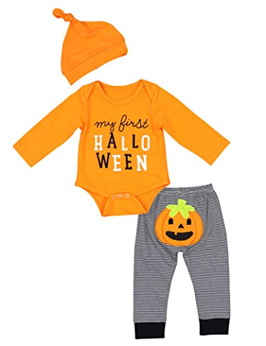 Newborn Halloween Costumes Pumpkin Pants Long Sleeve Outfits Set Baby Boys Girls Clothes My First Halloween (0-3 (Halloween Pumpkin Girl)