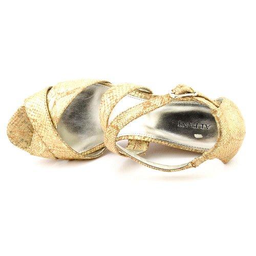 Alfani Jersey Guld Metalliska Kvinna Öppen Tå Kil Sandaler Skor # 351 Beige 6,5