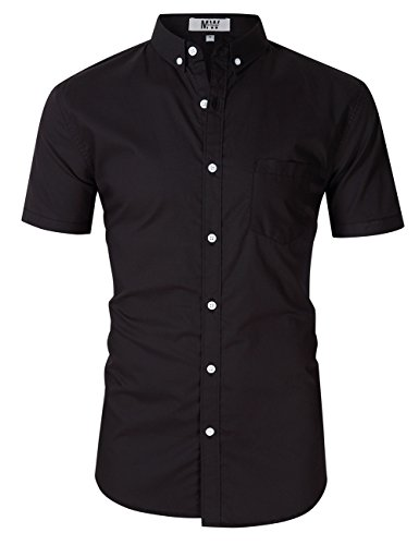 MrWonder Men's Casual Slim Fit Button Down Dress Shirt Short Sleeve Solid Oxford Shirt Black L