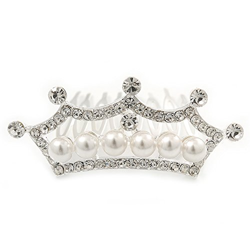 (Avalaya Fairy Princess Bridal/Wedding/Prom/Party Rhodium Plated Austrian Crystal and White Simulated Pearl Mini Hair Comb Tiara - 60mm )