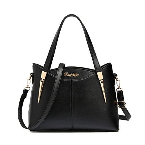 Cloudbag HB30040 PU Leather Handbag for Women,Fashion Solid Shoulder Bags,Black