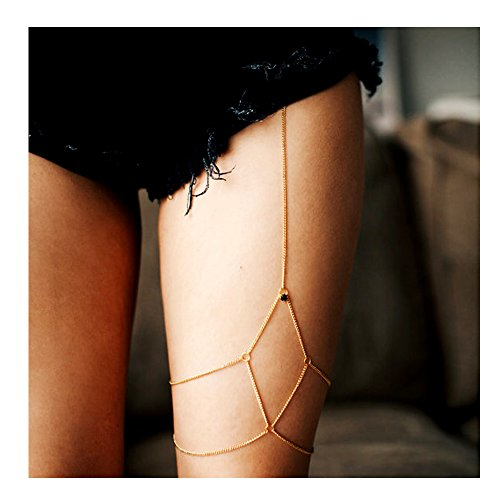 VITORIA'S GIFT Gold Simple Women Body Jewelry Handmade Chain Tassel Thigh Leg Chain Bracelet
