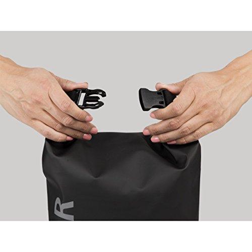 Hama Outdoor Tasche, 10l Volumen, wasserdicht (Packsack mit Rollverschluss und Trageriemen, robuste Tarpaulin Plane, verschweißte Nähte) schwarz