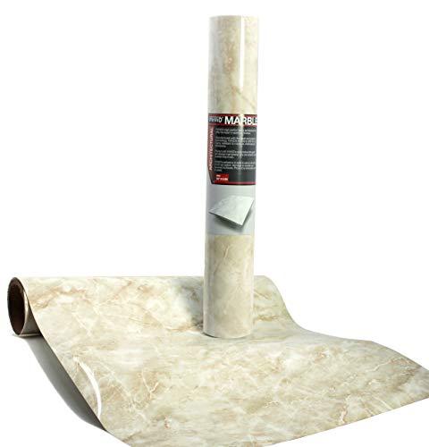 Crema Wall (VViViD Gloss Crema Beige Marble Natural Texture Architectural Vinyl Film Roll (48