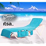 Beach Towel - THE ITSA Holiday Sun Lounger Cover / bag With Pockets (TURQUOISE) 100% cotton terry towelling