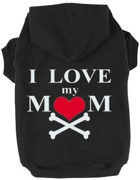 EXPAWLORER Dog Hoodie Black - Fleece Sweatshirt Hoodies Love Mom Costumes