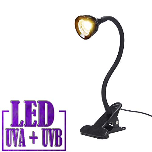Reptile Turtle Light LED UVA + UVB Sun Lamp with Flexible Clamp Lamp Holder for Reptiles Amphibian Lizard Turtle Snake Tortoises Bearded Dragons Chameleon Lizard(Lamp Bulb Include) (Best Light For Bearded Dragon)