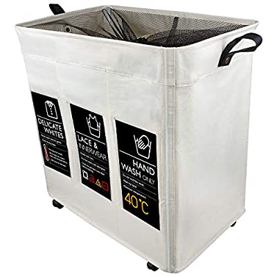 "Girlsli Sorting Hamper Girl hampers Laundry Gift Hamper Hamper Wheels Clothes Hamper Grey Laundry Hamper Divided hampers Laundry 3 Compartments Hamper Liner mesh Hamper Wheels sorter Double - Material: 100% Polyester (Oxford) Fabric; Dimensions (L x W x H):21.65""*14.17""*22.83"";Weight:2.65LB; Capacity: 114.84Lliters.Large capacity can serve the needs of your family.Please check the size of our product before purchase in order to ensure it meets your needs. Multi-functional: Not only used as tall laundry cart, but also an organizer bin for kids toys, books, sundries storage, making room clean. Foldable & Portable: Collapsible laundry basket organizer, easy to assemble and disassemble, fold it into small size 21.65""*14.17""*2.76"" when not in use,fold it up and put it anywhere you can't see it.4 heavy duty wheels included; 1 wheel lock for added stability,allow move freely without effort or fixed. - laundry-room, hampers-baskets, entryway-laundry-room - 41EIbCpFh0L. SS400  -"