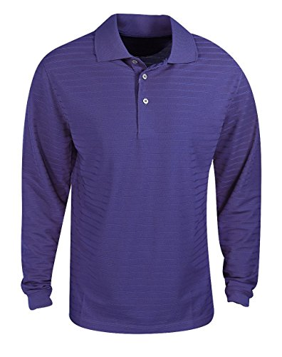 PGA Tour Golf- Long Sleeve Solid Airflux Polo Purple Pennant Size Extra Large