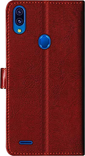 SBMS Leather Wallet Flip Cover for Lenovo A7  Brown