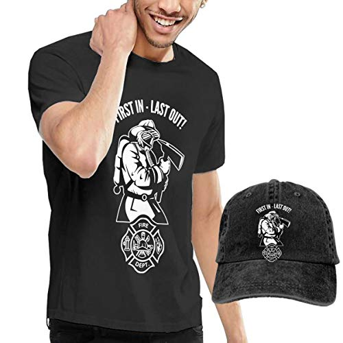Cotton Basic Tank Top Tees Jersey Casual T-Shirts Unisex Vintage Adjustable Baseball Caps Dad Hats for Mens Womens Mans Firefighter Fireman Fire Department First in - Last Out!