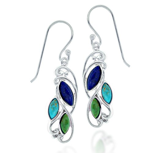 Rhodium Plated 925 Sterling Silver Marquise Sky Blue Turquoise & Blue Lapis Gemstone Dangle Earrings
